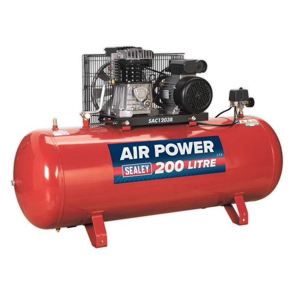 Sealey SAC1203B Air Compressor 200L Belt Drive 3hp with Cast Cylinders Thumbnail 2