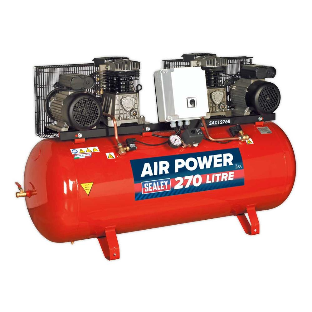 Sealey SAC1276B Compressor 270ltr Belt Drive 2 x 3hp with Cast Cylinders
