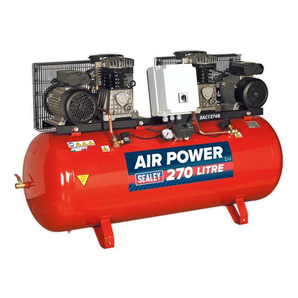 Sealey SAC1276B Compressor 270ltr Belt Drive 2 x 3hp with Cast Cylinders Thumbnail 1