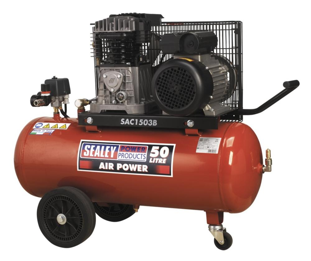Sealey SAC1503B Air Compressor 50L Belt Drive 3hp with Cast Cylinders & Wheels