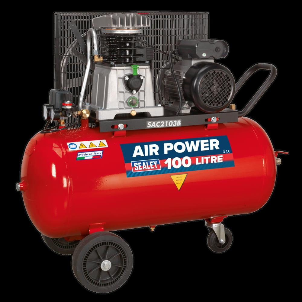 Sealey SAC2103B Compressor 100ltr Belt Drive 3hp with Cast Cylinders & Wheels