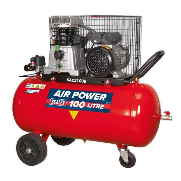 Sealey SAC2103B Compressor 100ltr Belt Drive 3hp with Cast Cylinders & Wheels Thumbnail 2