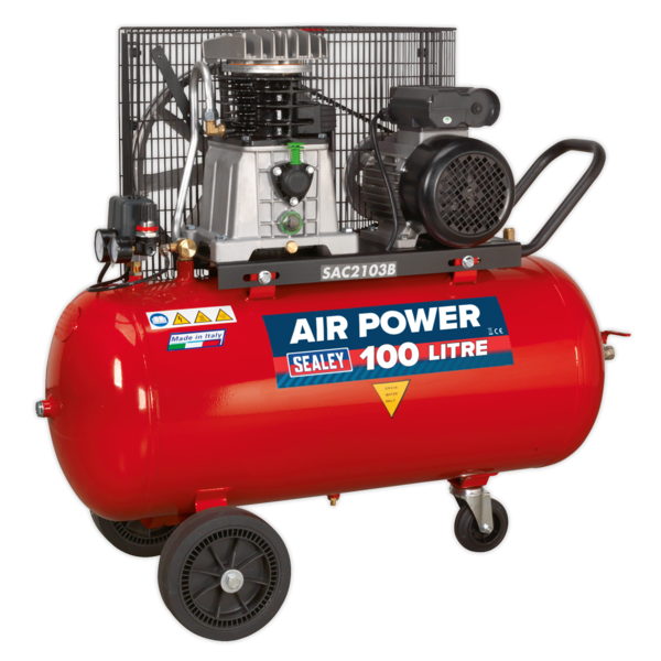 Sealey SAC2103B Compressor 100ltr Belt Drive 3hp with Cast Cylinders & Wheels Thumbnail 1