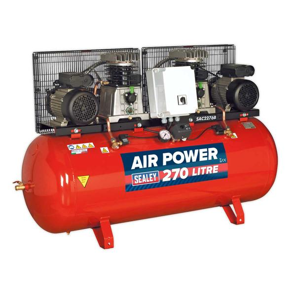 Sealey SAC2276B Compressor 270ltr Belt Drive 2 x 3hp with Cast Cylinders Thumbnail 1