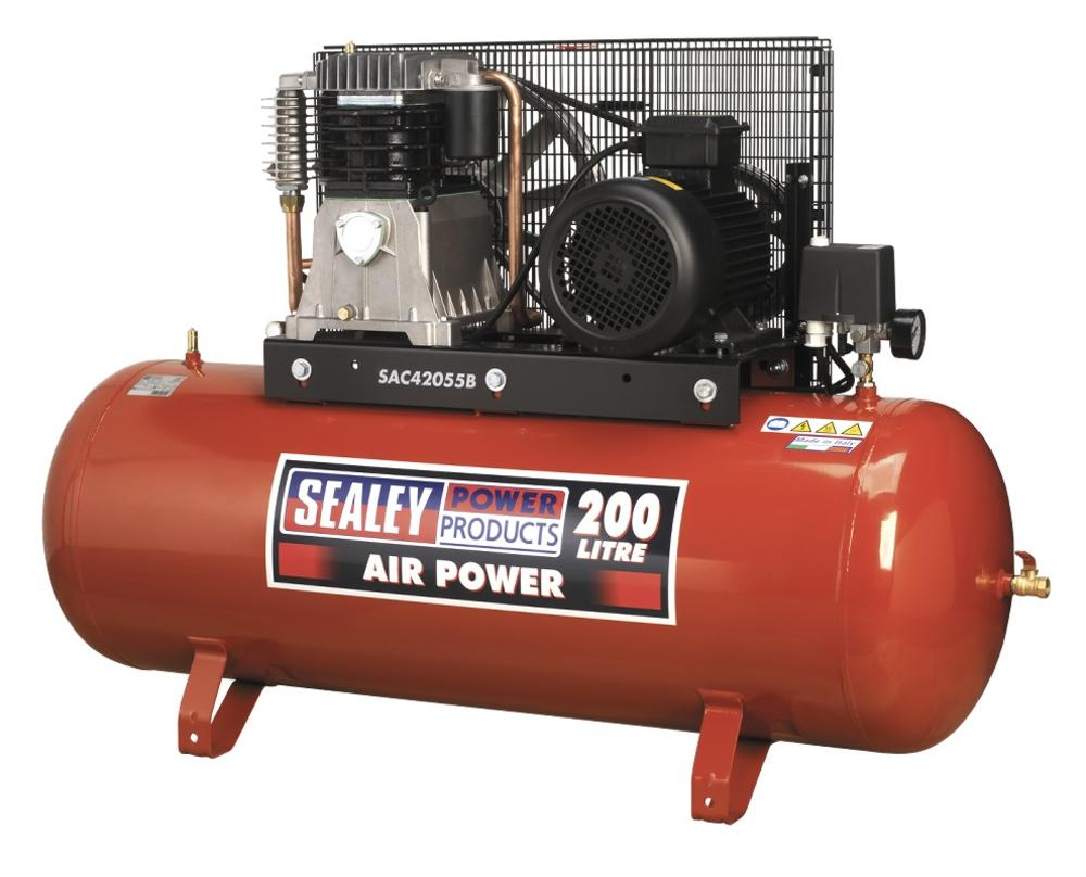 Sealey Air Compressor 200L Belt Drive 5.5hp 3ph 2-Stage with Cast Cylinders