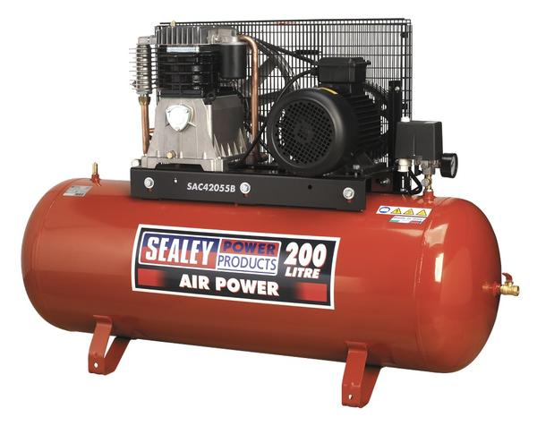 Sealey Air Compressor 200L Belt Drive 5.5hp 3ph 2-Stage with Cast Cylinders Thumbnail 1