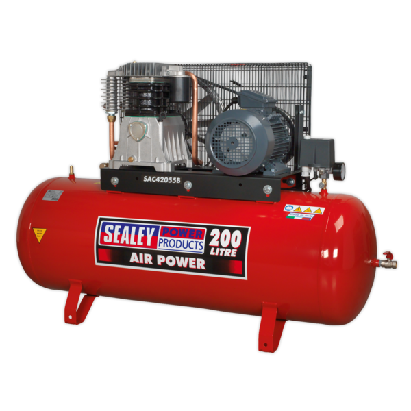 Sealey Air Compressor 200L Belt Drive 5.5hp 3ph 2-Stage with Cast Cylinders Thumbnail 2
