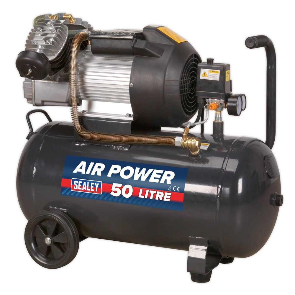 Sealey SAC5030VE Compressor V-Twin 50ltr Direct Drive 3hp116psi (8bar) 230V