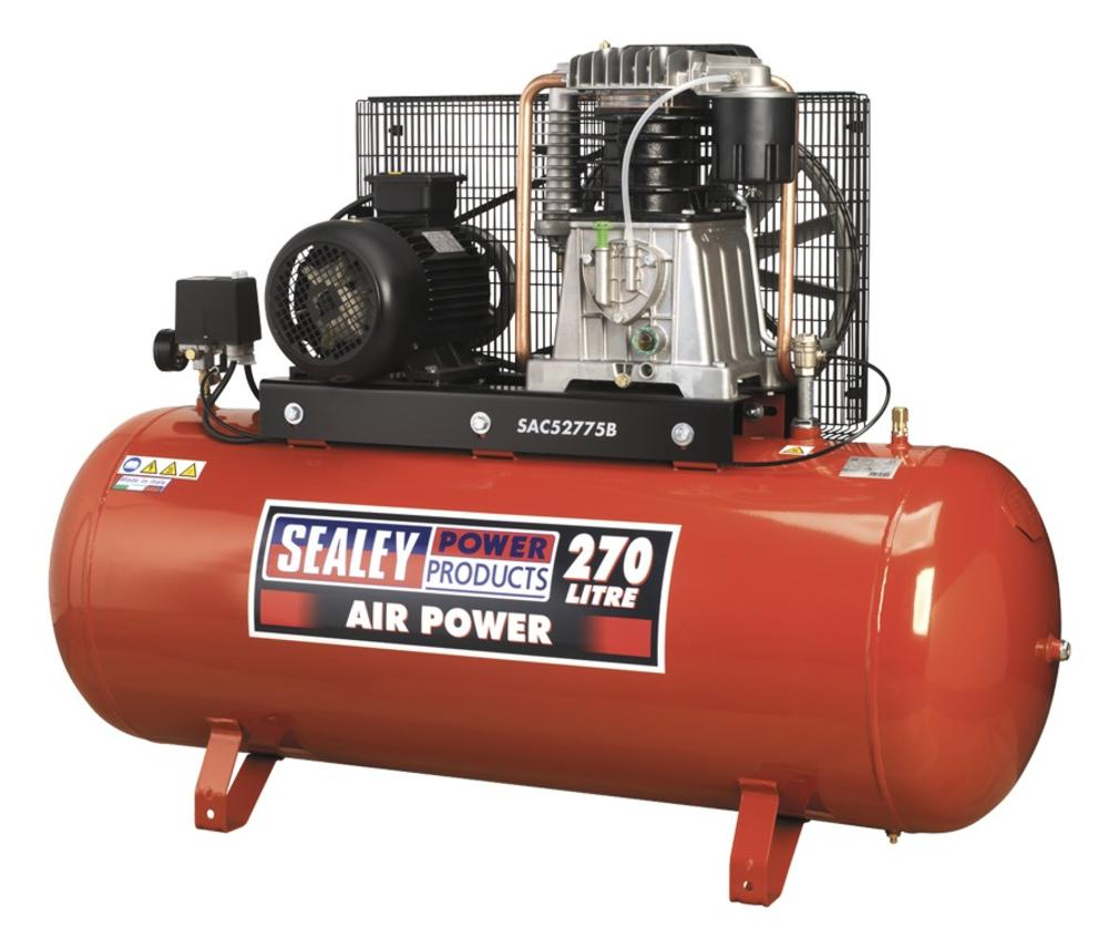 Sealey Air Compressor 270L Belt Drive 7.5hp 3ph 2-Stage with Cast Cylinders