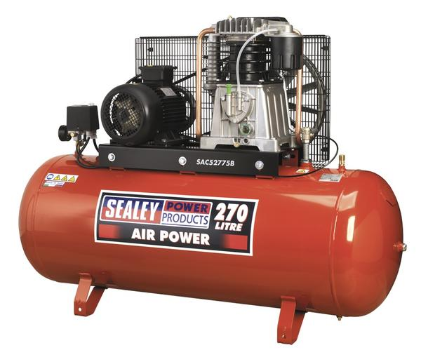Sealey Air Compressor 270L Belt Drive 7.5hp 3ph 2-Stage with Cast Cylinders Thumbnail 1
