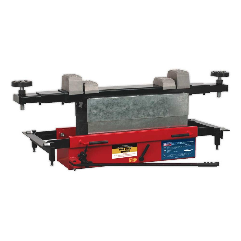 Sealey SJBEX200 Jacking Beam 2 Tonne with Arm Extenders & Flat Roller Supports