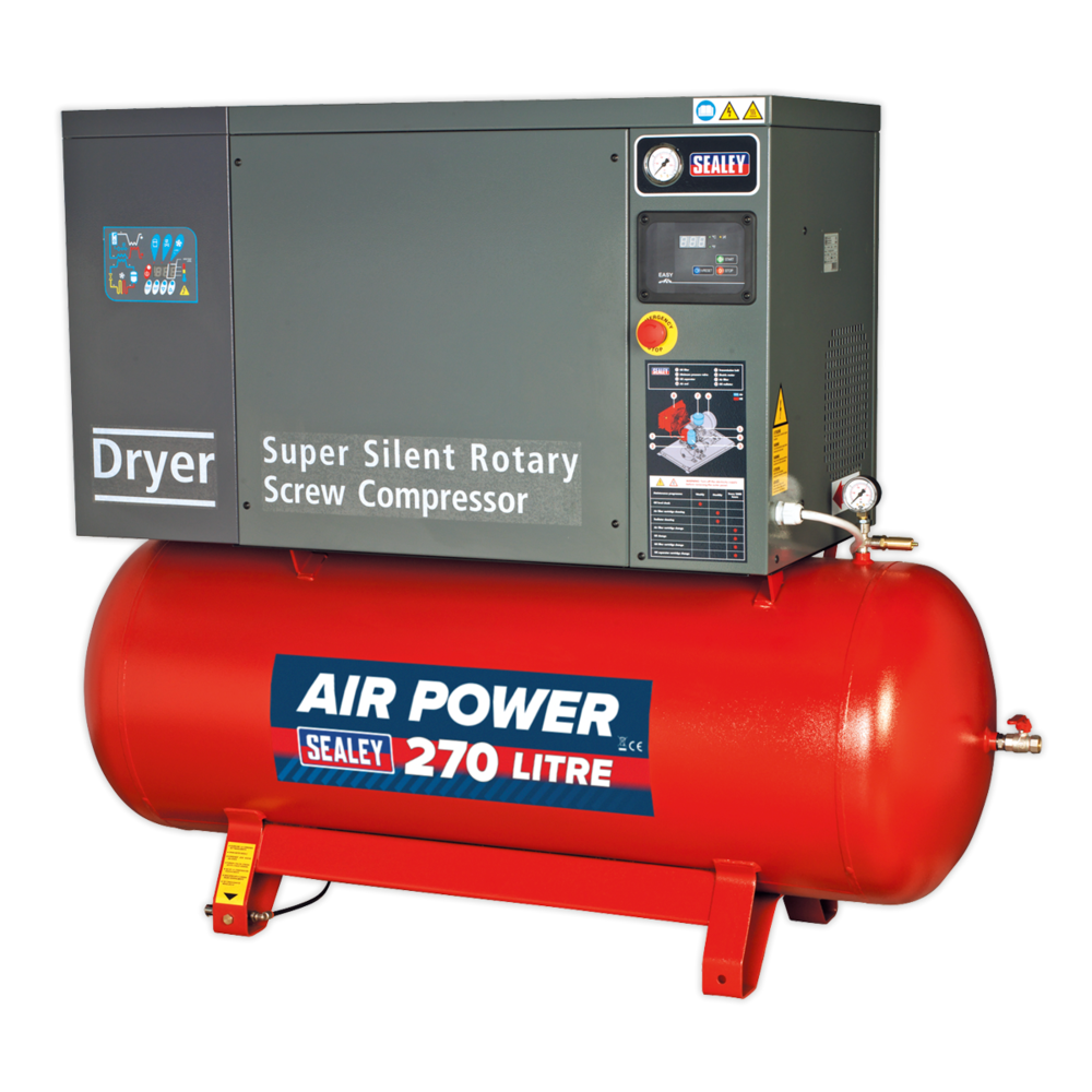 Sealey SSC12710D Screw Compressor 270ltr 10hp 3ph Low Noise with Dryer