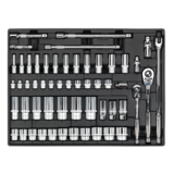 """Sealey TBT31 Tool Tray with Socket Set 55pc 3/8"""" & 1/2""""Sq Drive"""