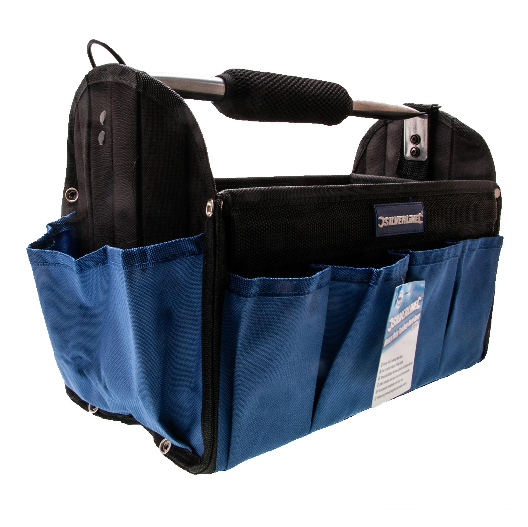 HEAVY DUTY HARD BASE TOOL BAG SHOULDER STRAP NEW POCKETS 400 x 200 x 250mm