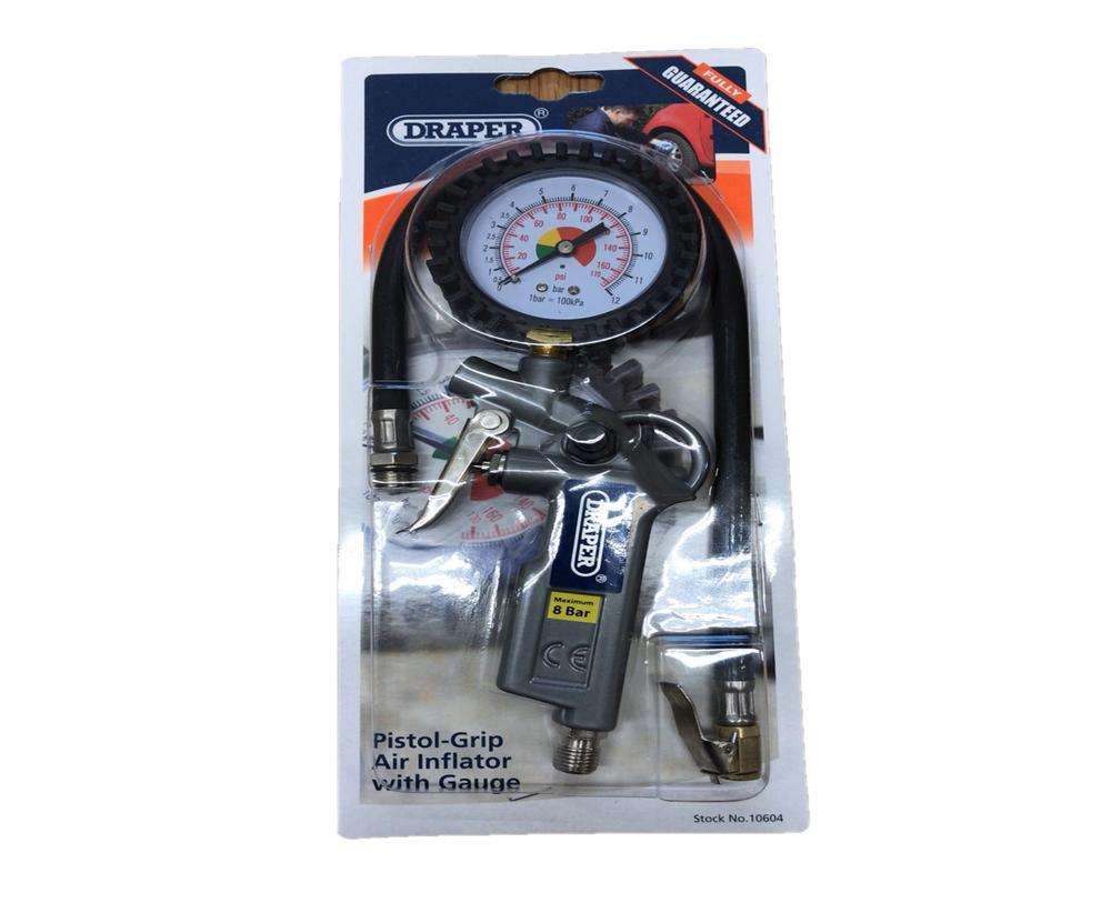 Draper 10604 4288B Air Tyre Inflator With Pressure Gauge