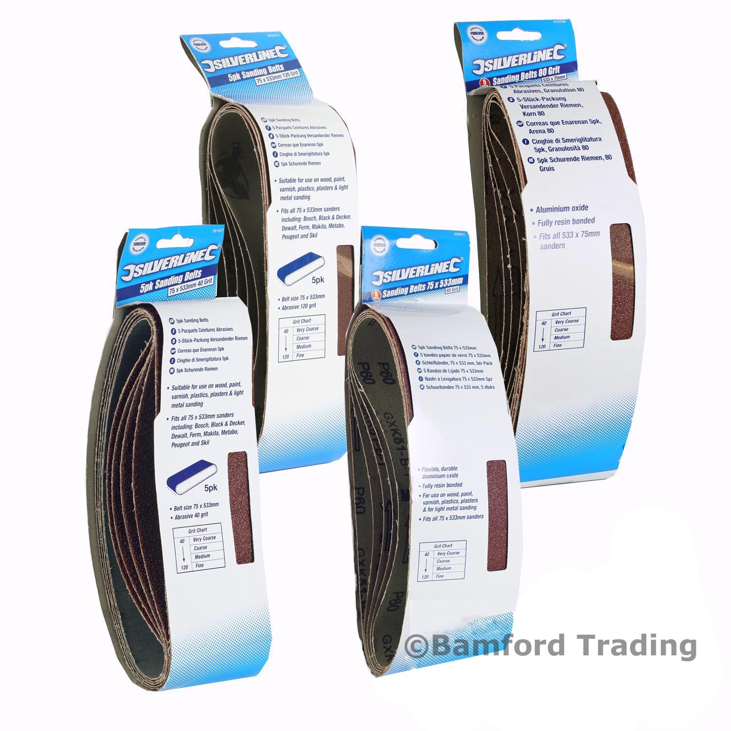 Fully resin bonded. Flexible durable aluminium oxide sanding belts Power Tool Accessories Sanding Belts Sanding Belts 40mm x 305mm 5pk 80 Grit Fits all 40mm x 305mm sanders including Bosch