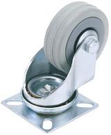 Draper 65468 60250P 50mm Dia. Swivel Plate Fixing Rubber Castor - S.W.L 50Kg (T)