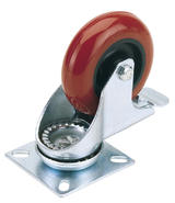 Draper 65519 605100PB 100mm Dia. Swivel Plate Fixing Polyurethane Wheel with Brake - S.W.L. 125Kg