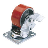 Draper 65524 606100PB 100mm Dia. Swivel Plate Fixing Heavy Duty Polyurethane Wheel with Brake - S.W.L. 250Kg