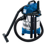 Draper 13785 20L 1250W Wet and Dry Vacuum Cleaner Stainless Steel Tank