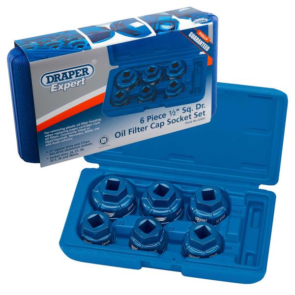 "Draper 22491 Expert 6 Piece 1/2"" Sq. Dr. Oil Filter Cap Socket Set"