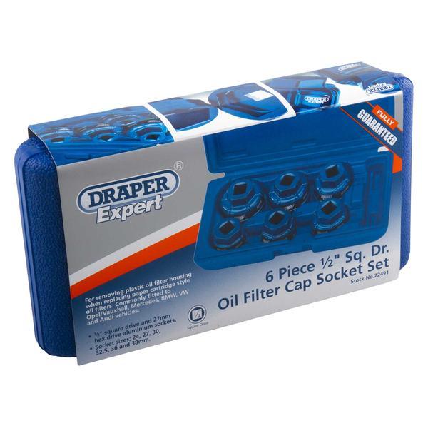 """Draper 22491 Expert 6 Piece 1/2"""" Sq. Dr. Oil Filter Cap Socket Set Thumbnail 4"""