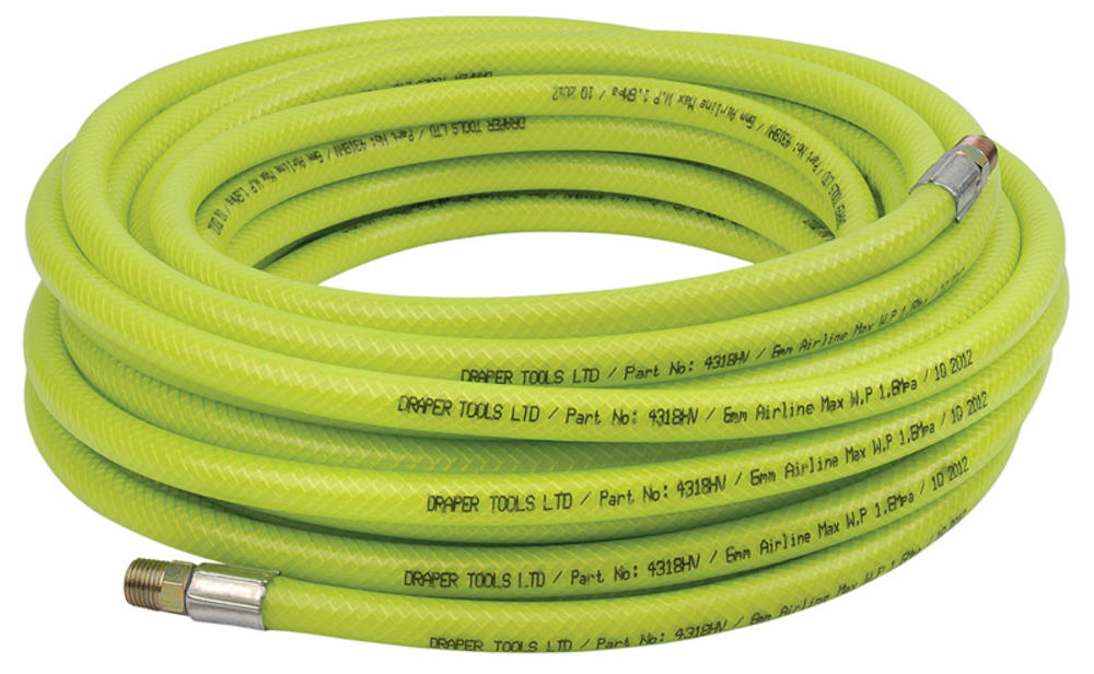 "Draper 23189 15.2M 1/4"" BSP 6mm Bore High-Vis Air Line Hose"