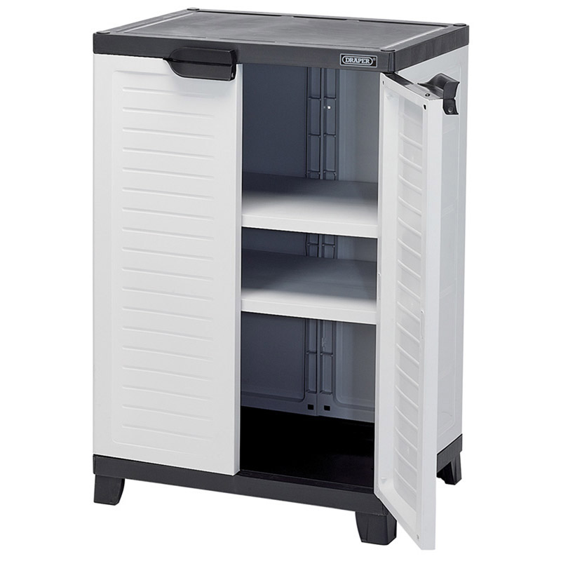draper 23233 heavy duty plastic 2 shelf utility cabinet draper 23233 heavy duty plastic 2. Black Bedroom Furniture Sets. Home Design Ideas