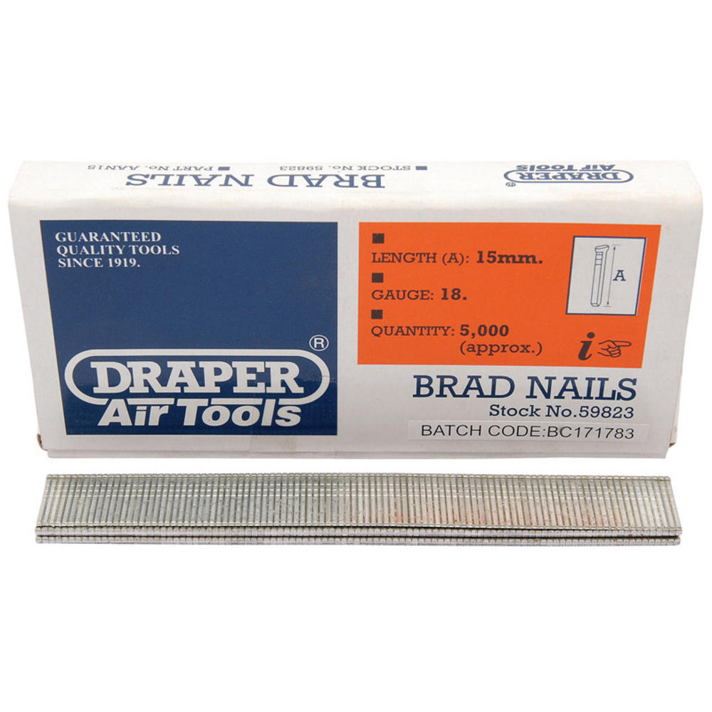 Draper 59823 AAN15 15mm Brad Nails (5000)
