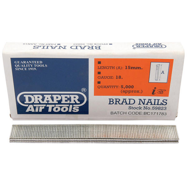 Draper 59823 AAN15 15mm Brad Nails (5000) Thumbnail 1