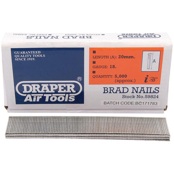 Draper 59824 AAN20 20mm Brad Nails (5000) Thumbnail 1