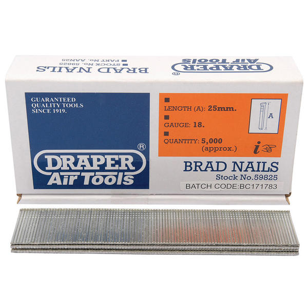 Draper 59825 25mm Brad Nails (5000) Thumbnail 1