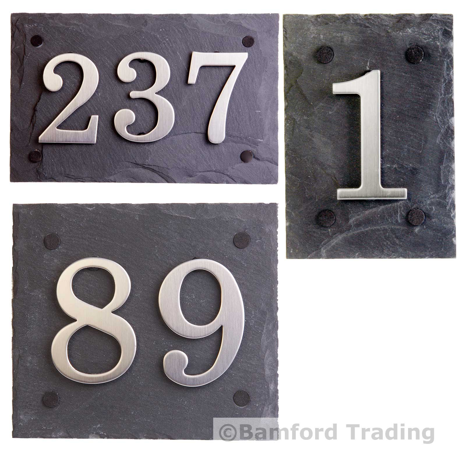 Natural Slate Door/House Number Plaques With Choice Of Stainless Steel  Digits