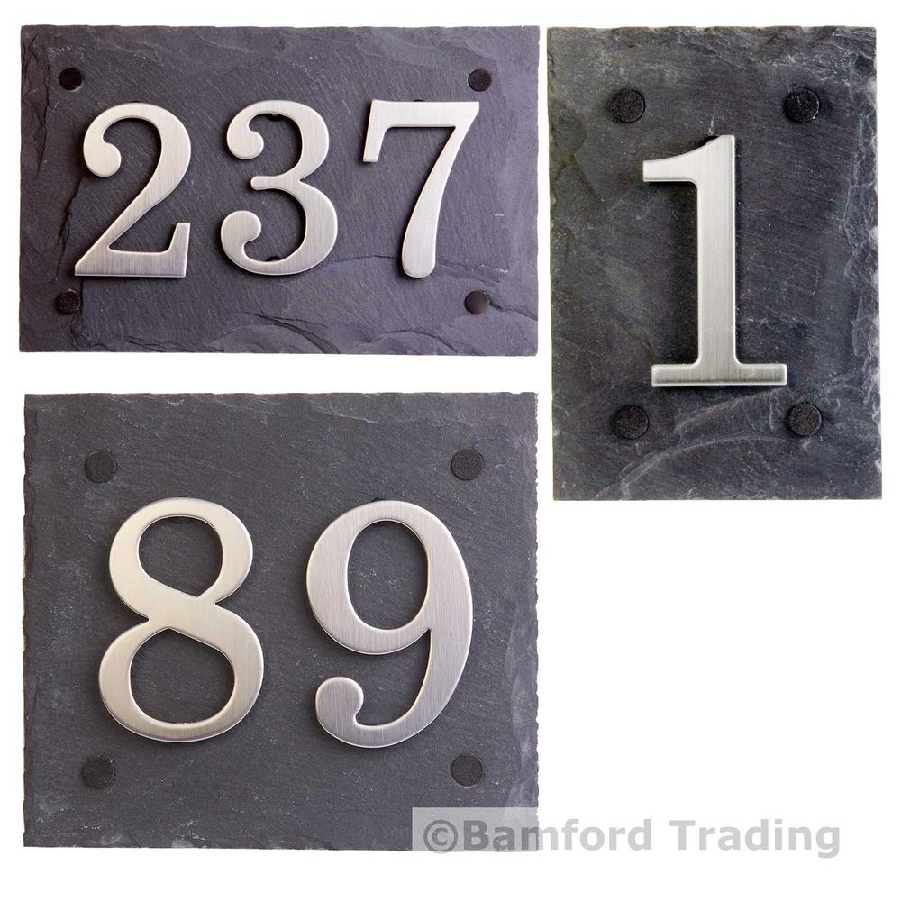 Natural slate door house number plaques with choice of stainless steel digits