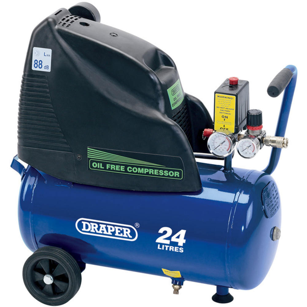 Draper 24978 DA25/169 24L 230V 1.1kW (1.5hp) Oil-Free Air Compressor