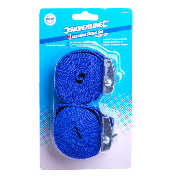 Silverline 449682 2 Piece Cam Buckle Tie Down Straps 2.5m x 25mm Thumbnail 2