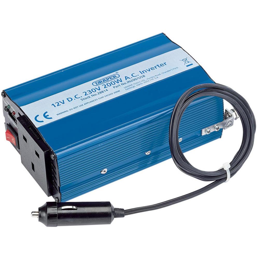 Draper 28814 IN200/USB 12V 200W DC-AC Inverter