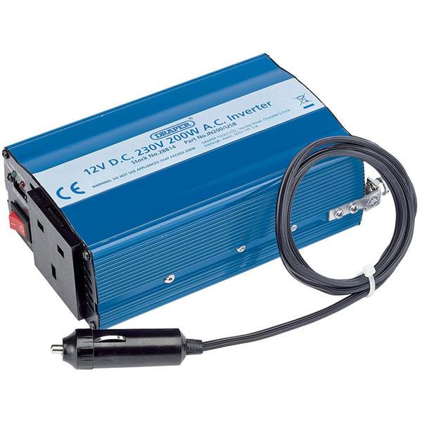 Draper 28814 IN200/USB 12V 200W DC-AC Inverter Thumbnail 1