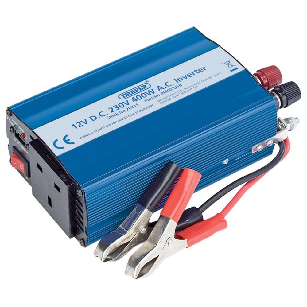 Draper 28815 IN400/USB 12V 400W DC-AC Inverter