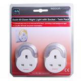 Masterplug Plug Through Indoor Dusk to Dawn Night Light Twin-Pack