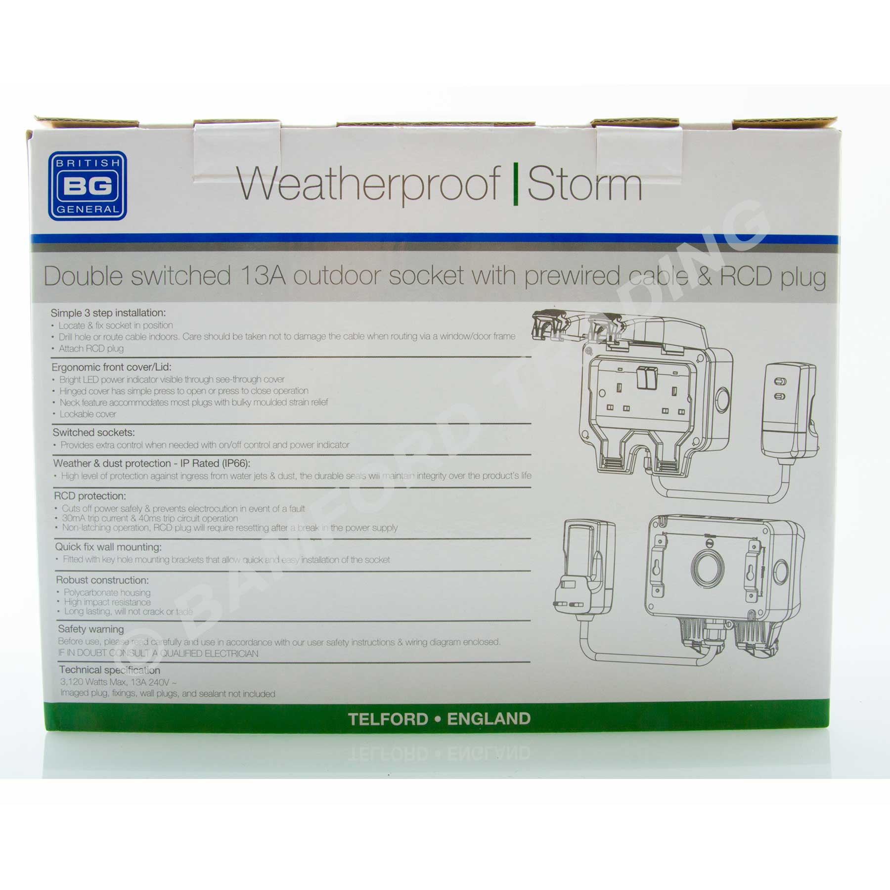 Masterplug Weatherproof Outdoor Mains Power Kit Nexus WP22KIT/3 on