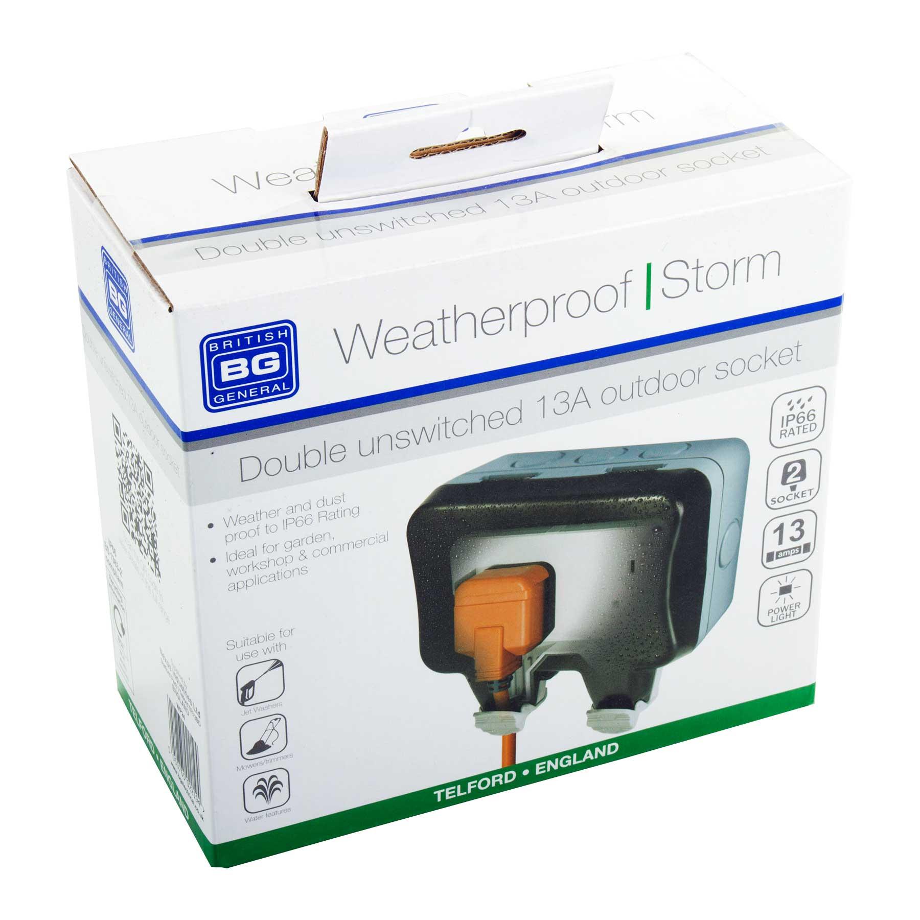 BG Weatherproof IP66 Outdoor Twin Power Socket 2 Gang Storm 13 Amp ...