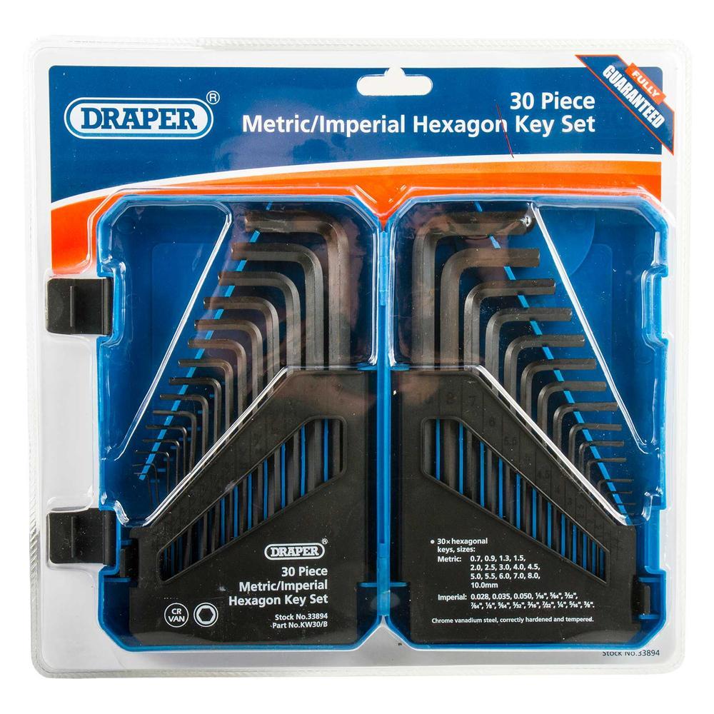 Draper 33894 Metric//Imperial Combined Long Pattern Hexagon Key Set 30 Pieces