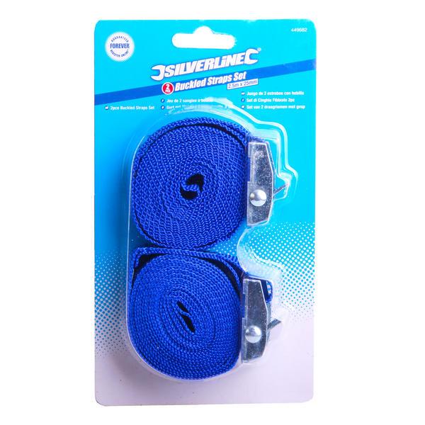 Silverline 449682 2 Piece Cam Buckle Tie Down Straps 2.5M X 25mm Thumbnail 2