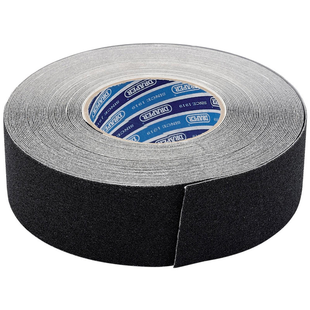 Draper 66234 TP-S/GRIP 18M x 50mm Black Heavy Duty Safety Grip Tape Roll