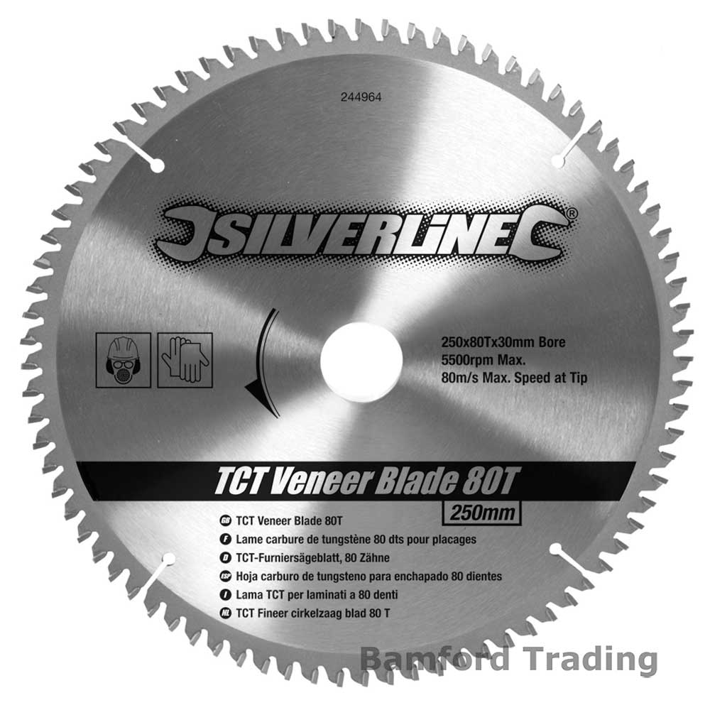 80t Fine Cut 250mm Circular Saw Blade 30mm Bore 25mm 20mm