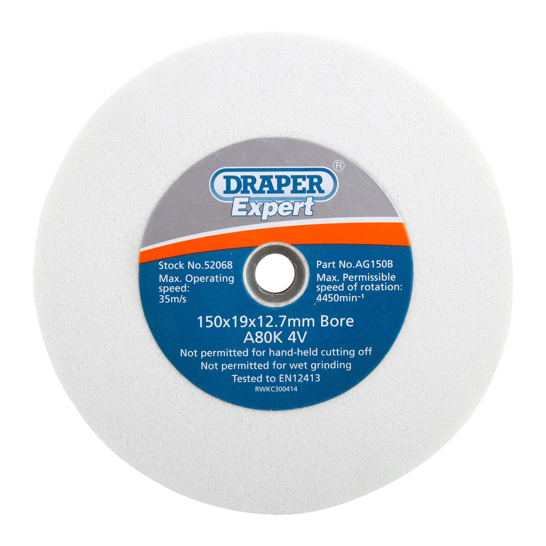 Draper 52068 AG150B Expert Grinding Wheel 80G 150mm x 19mm White ...