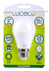 Luceco LED Lamp A60 B22 6.5W 470LM Warm White 2700K Non-Dimmable