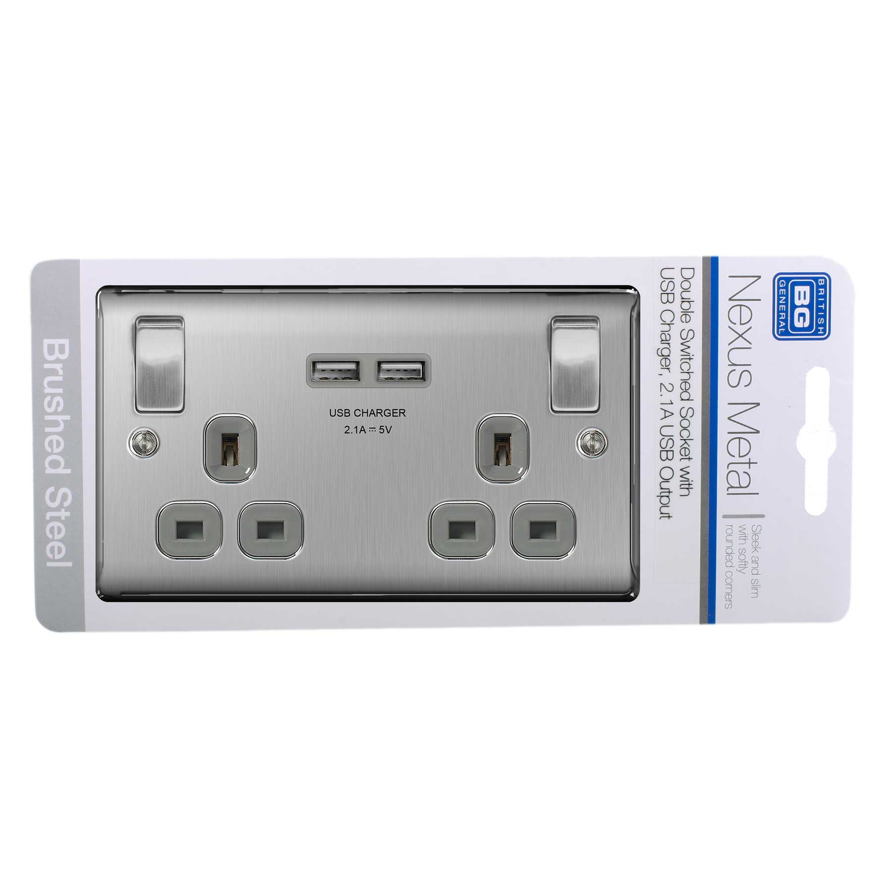 Bg Brushed Steel Double Switched Socket With Usb Outlets Wiring Accessories
