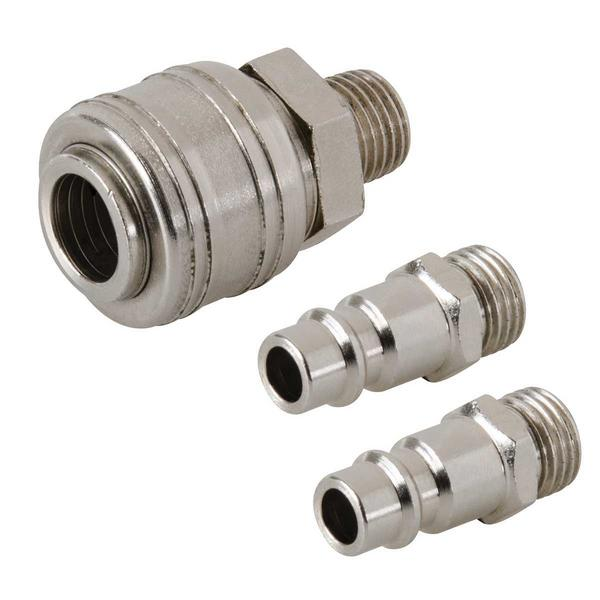 "Euro Air Line Male Thread Quick Coupler & Bayonet Coupler Kit 1/4"" BSP Thumbnail 1"